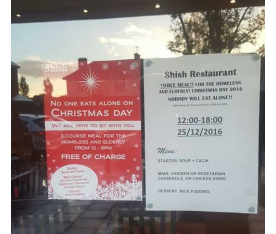 SHISH RESTAURANT IN SOUTHEND - WELCOMES THE HOMELESS IN ON CHRISTMAS DAY